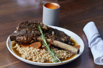 Braised Tomahawk Beef Short Rib over Farro Risotto